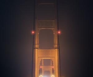 fog, bridge, and night image