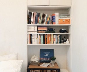 bed, books, and desk image