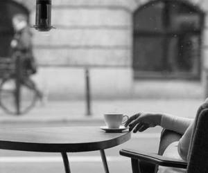 coffee, black and white, and cafe image
