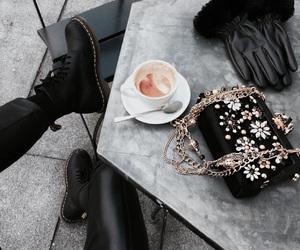 bag, coffee, and doc martens image
