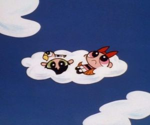cartoon, clouds, and powerpuff girls image