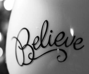 believe, black and white, and quote image