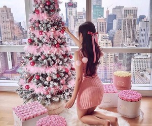 christmas, girl, and pink image