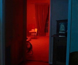 red, neon, and room image