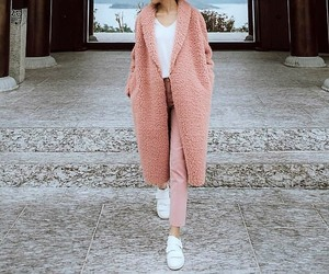 white sneakers, long teddy bears coats, and light pink pants image