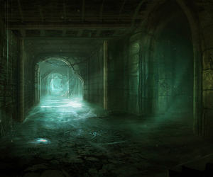 green, halls, and slytherin image