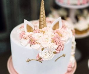 cake, pink, and unicorn image