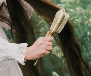 brush, hair, and long hair image