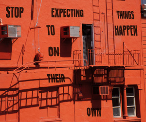 building, orange, and quotes image
