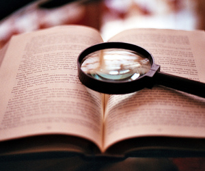 aesthetic, magnifying glass, and book image