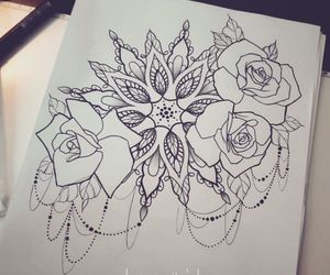 mandala, roses, and Tattoos image