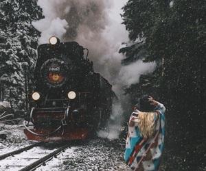 destination, snow, and train image