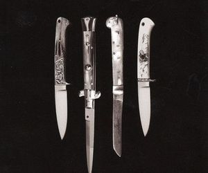knife, black and white, and dark image