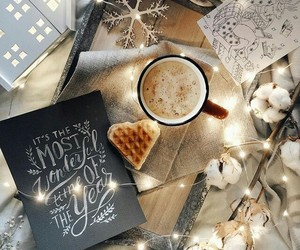 coffee, christmas, and lights image