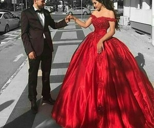 dress, couple, and red image
