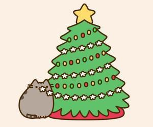 christmas and pusheen image
