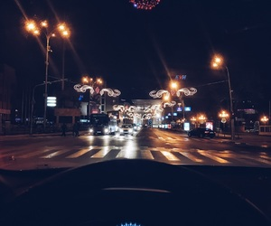 street, winter, and car ride image