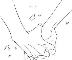black&white, hands, and manga boy image