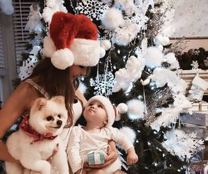 baby, christmas, and dog image