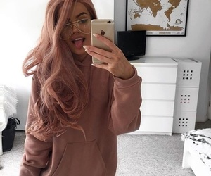 girl, pink, and glasses image