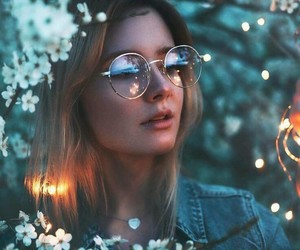 light, girl, and flowers image