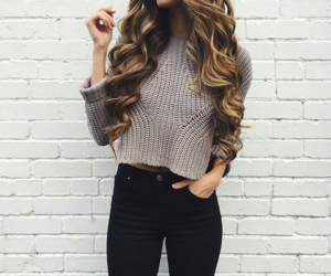 beauty, black jeans, and curls image