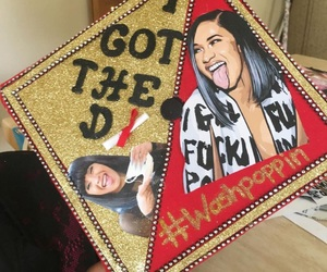cardi b, grad cap idea, and washpoppin image