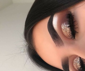 makeup, eyebrows, and glitter image
