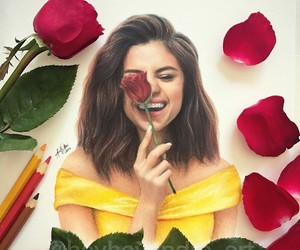 selena gomez, art, and rose image