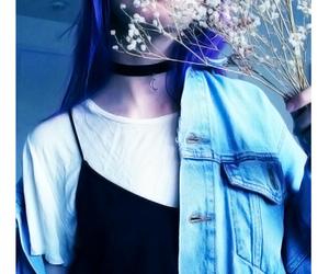 choker, icon, and purple hair image