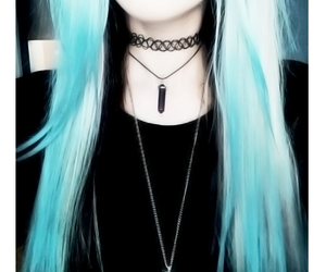 blue hair, choker, and icon image