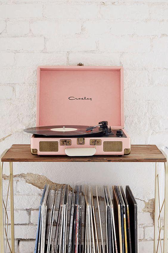 Dusty Pink Vinyl Record Player Pantone