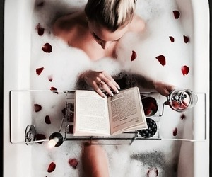 book, bath, and rose image