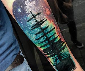northern lights, ship, and tattoo image