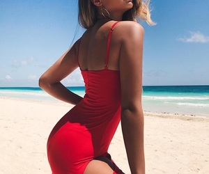 beach, dress, and beauty image