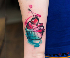 cupcake, watercolor, and food tattoo image