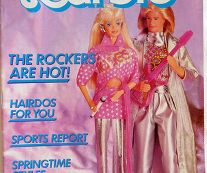 barbie, pink guitar, and childhood image
