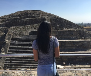 black hair, blue and green, and teotihuacan image
