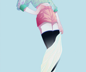 anime fanart, green hair anime girl, and anime fashion girl image