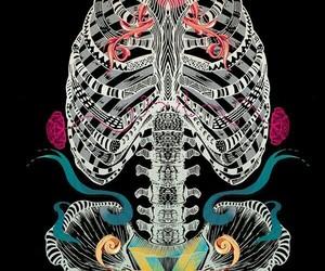 art, neon, and skulls image