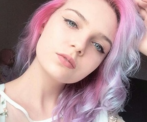 blue eyes, hair, and pink and purple image