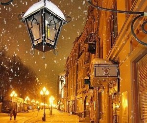 lamp, snow, and winter image