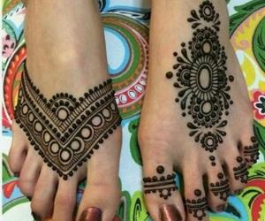 henna, feet, and design image