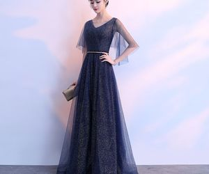 evening dress, navy blue, and girl image