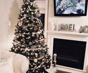 christmas, christmas tree, and fireplace image