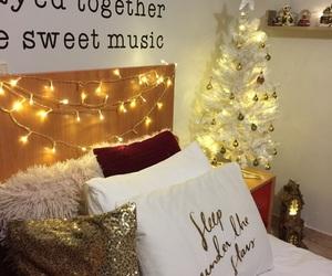 bedroom, christmas tree, and decor image