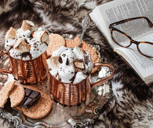 book, hot chocolate, and christmas image
