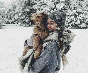 christmas, girl, and dog image