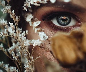 photography, eyes, and flowers image
