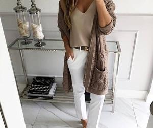beige, jacket, and t-shirt image